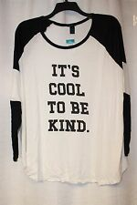 CUTE NEW WOMENS PLUS SIZE 3X IT'S COOL TO BE KIND STRIPED SLEEVE TEE SHIRT TOP