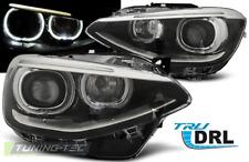 Coppia Fari Fanali Anteriori Tuning BMW Serie 1 F20 21 2011-2014 DRL TRUE Nero