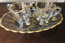 Silver city 50th Anniversary Tray With Footed 22k On Crystal Sugar And Creamer