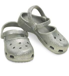 Crocs  Silver Sparkle  Karin Maryjane  Crocs Little Girls Size 8