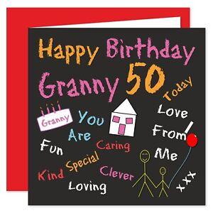 Granny Happy Birthday Card - Age Range 50 - 80 Years - Black Board Design