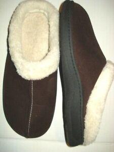 Dearfoams Womens Brown Slippers Size M 9 - 10 Faux Fur Microfiber