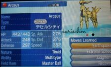 Pokemon shiny Arceus 6IVs EV trained level 100 Ultra Sun Moon DS game trade