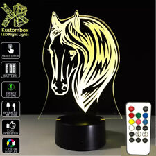 HORSE HEAD 3D LED BATTERY USB POWERED NIGHT LIGHT & REMOTE 7 COLOUR TOUCH LAMP