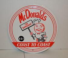 "McDonald's Restaurant ""I'M SPEEDY"" Coast to Coast Metal Advertising Sign"