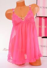 NWT Victoria's Secret Lingerie Fly-away Tulle Babydoll Lace Unlined S Pink