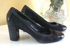 Franco Sarto Women's Black Patent Leather & Suede Pumps, 2-7/8