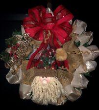 Burlap Christmas Wreath Handmade Rustic