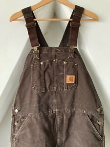 Vintage Carhartt WIP Bib Overalls Dungarees W38 L34 Dark Brown Lined Workwear