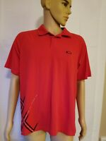 Oakley Golf Polo Shirt Red Black Mens Size Large Short Sleeve
