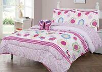 Home 3pc Twin Size Kids Girls Teens Comforter Set w/Sham & Decorative Pillow.