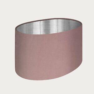 Lampshade Blush Pink Velvet Brushed Silver Oval Light Shade