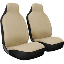 Seat Cover Set Front Integrated Bucket for Car Truck SUV Flat Cloth - 2pc Beige