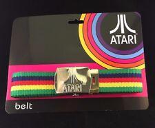 NUOVO logo Atari console di gioco fibbia in metallo tessuto WEB Giochi Retrò RARO