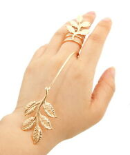UNUSUAL Statement Celeb GOLD Coiled Leaf Ring Hand Bracelet By Rocks Boutique