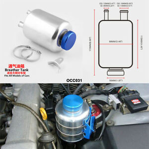 Car Engineering Racing Fuel Power Steering Tank Fluid Breather Reservoir Silver