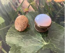 Blue Peach Opalescent Glass Bachelor Buttons 2 Antique Gilt Metal & Milky