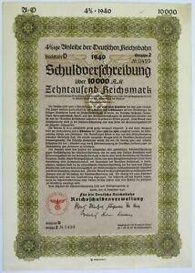 GERMANY Deutsche Reichsbahn / German State Railways 10000 Reichsmark 1940 Bond *