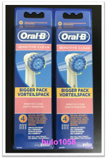 8 NEW ORIGINAL BRAUN ORAL-B SENSITIVE CLEAN TOOTHBRUSH BRUSH HEADS EB17-4 3 2