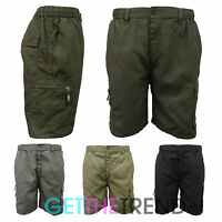 MENS NEW ELASTICATED SHORTS MENS POLY COTTON CARGO COMBAT POCKETS FITTED SHORTS