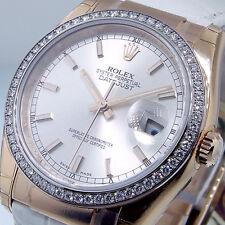 ROLEX 116185 DATEJUST EVEROSE GOLD DIAMOND BEZEL 36 mm SILVER STICK DIAL