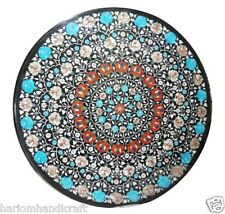 Size 3'X3' Marble Dining Table Top Rare Turquoise Floral Inlaid Home Decor H911A