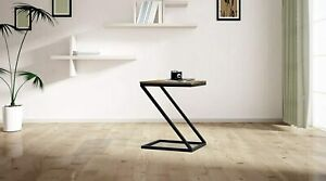 WOODEN & IRON Z SHAPE BEDSIDE NIGHT STAND TABLE FOR BEDROOM - BLACK
