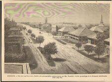 BIRMANIE BURMA RUE DE RANGOON GRAVURE IMAGE 1887