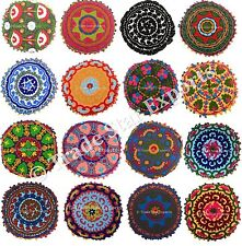 50 Pcs Vintage Suzani Embroidered Floor Throw Cushion Cover Round Mandala Pillow