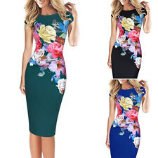 Women's Floral Bodycon Pencil Dress Party Evening Clubwear Cocktail NEW STYLE