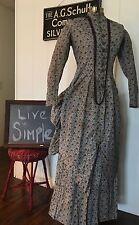 Antique Early Victorian Edwardian Bustle Dress Gingham Print Prairie Farm