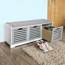 SoBuy Hallway Shoe Storage Bench With 3 Drawers & Seat Cushion Fsr23-hg UK