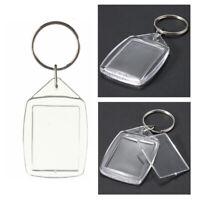 20x Clear Acrylic Plastic Blank Keyrings Insert Passport Photo Keychain Key Y3Y3