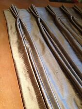 100% Silk Dupion Interlined Pinch Pleat Curtains MadeTo Measure Hand Sewn