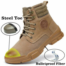 Men Leather Ankle Safety Boots Steel Toe Cap Waterproof Work Boots Shoes Warm