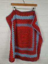 Handmade Red / Blue Crochet Blanket Size 28 x 28 inches