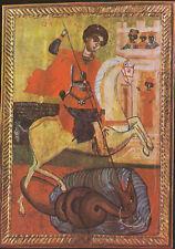 Arte antiguo tarjeta postal-hl. Georg-matadragones en el caballo