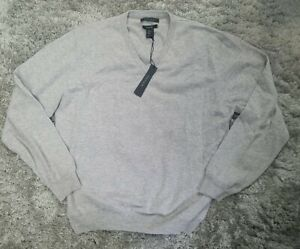 Tahari Men's 100% Cashmere V-Neck Sweater Gray Size XL NEW NWT