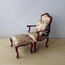 Sale 1:12 Dollhouse Miniature Furniture Handcrafted Armchair w/Stool Silk Flower