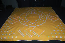 ANCIEN SERVICE A THE EN LIN / NAPPE + 12 SERVIETTES / BRODERIE DE PETITES FLEURS