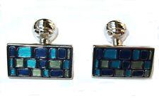 Duchamp London Cufflinks Blue mosaic groom wedding