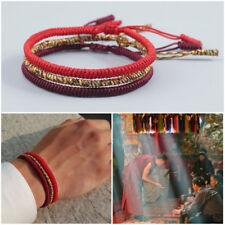 Bracciale uomo braccialetto nodo in corda rosso Tibetano Buddha da set bracciali