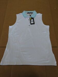 1 NWT RALPH LAUREN RLX WOMEN'S SHIRT, SIZE: LARGE, COLOR: WHITE/GREEN (P1)