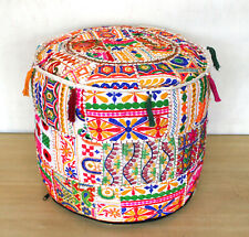 "22"" Indian Handmade Round Vintage Patchwork Ottoman Footstool Pouf Cover White"