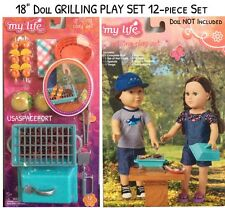 """12pc 18"""" Doll GRILL Play SET Food Camping Tent for Life As American Girl Boy"""
