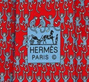 "Super Cool New Tags Hermes Silk Tie Red/Blue ""Acrobat Monkeys"" Ex Rare Mint!"