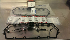 2X OEM 98-03 7.3L DIESEL VALVE COVER GASKET SET WITH HARNESSES AND GLOW PLUGS