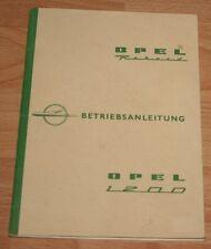 Opel Rekord PI P1 Record 1,2  1960 Betriebsanleitung Bedienungsanleitung