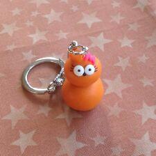 Zingy Girl Edf Keyring Orange Flame Cute Handmade