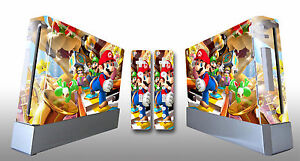 Skin Sticker Cover For NintendoWii Console and 2 Remotes Super Mario Party 215